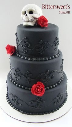 Almost perfect....same detail in black, white cake and black or deep purple roses.