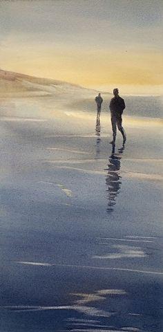 Beachcombers by Sarah Yeoman Watercolor ~ 22 x 11