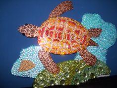 Green sea turtle done in acrylic rhinestones wall art by SusanChance, $428.00