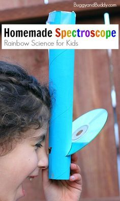 Rainbow Science for Kids: Homemade Spectroscope using a paper towel roll and a C. Rainbow Science for Kids: Homemade Spectroscope using a paper towel roll and a CD. Such a fun way to explore light! Preschool Science, Science Experiments Kids, Science Fair, Teaching Science, Science For Kids, Summer Science, Science Games, Science Ideas, Science Education