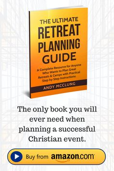 A new book from Andy the author of Christian Camp Pro that guides you step by step on planning successful church events including: youth camps, ladies retreats, men's retreats, couples retreats, leadership retreats and more.  Buy today: http://christiancamppro.com/book