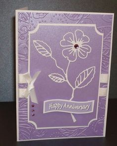 Hand made anniversary card with memory box dogwood blossom die cut