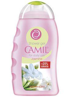 Gel de duș cu iasomie Camil 250ml  cod - cami235  Alintă-ţi simţurile cu parfumul delicat de iasomie, în timp ce gelul de duș se transformă într-o spumă delicată – pentru o piele vizibil mai fină. Pentru utilizare zilnică.  200ml+50ml Gratis Spa, Shower Gel, Cleaning Supplies, Blueberry, Raspberry, Shampoo, Drinks, Bottle, Lady