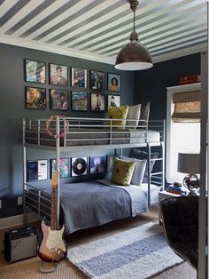 Great inspiration for a teenage boy's room. Now if only I can force my son to keep his room this tidy.. But then again.. He would not be a normal kid!