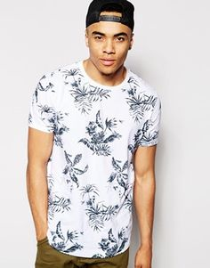 ASOS T-shirt In All Over Flower Print With Relaxed Fit