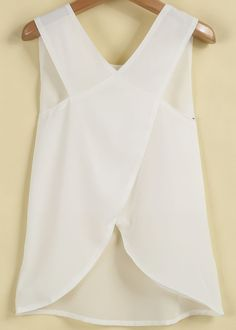 White Sleeveless Cross Back Chiffon Blouse