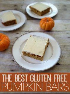The best gluten free pumpkin bars you will ever try! free desserts, Best Gluten Free Pumpkin Bars - Inspiration for Moms Gluten Free Pumpkin Bars, Gluten Free Deserts, Gluten Free Sweets, Foods With Gluten, Gluten Free Baking, Dairy Free Recipes, Pumpkin Recipes, Vegan Gluten Free, Gf Recipes