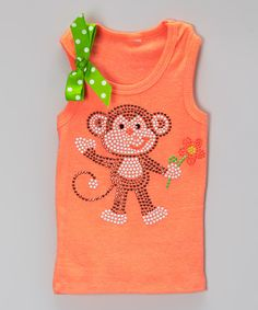 Look at this Neon Orange Monkey Sparkle Tank - Infant, Toddler & Girls on #zulily today!
