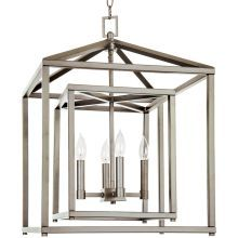 """17"""" Wide 4 Light Single Tier Candle Style Chandelier with Lantern Style Shade"""