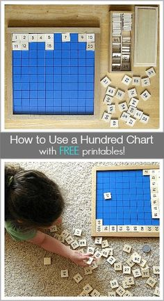 A hundred chart is one of the best math resources you can have available for your child. It can help with counting, number recognition, adding and subtracting, and even discovering number patterns. Montessori Classroom, Homeschool Math, Math Classroom, Kindergarten Math, Teaching Math, Homeschooling, Math Activities For Kids, Math For Kids, Montessori Activities