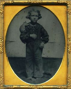 boy with squirrel. 1860's tintype.: