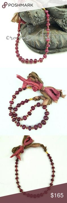 Genuine Ruby & Raw Silk Necklace, Handmade Breathtaking ruby necklace, handcrafted using high quality gold beading wire, gold plated beads and gorgeous genuine rubies. Raw silk ties allow necklace to be lengthened or shortened,  and give this necklace a great shabby chic look.  Handcrafted with love by me!  ***CUSTOM ORDERS ARE ALWAYS WELCOMED *** croweArt Jewelry Necklaces