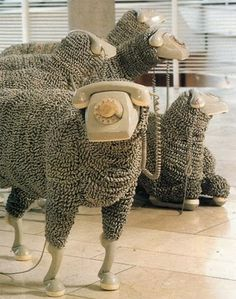 "When I'm calling. Telephone Sheep by artist Jean Luc featured in a Frankfurt museum. A flock of sheep made from old rotary phones. The ""wool"" is made of phone cords. Fabulously creative and if you blur your eyes, they really DO look like sheep! Instalation Art, Frida Art, Graphisches Design, Free Design, Art Plastique, Oeuvre D'art, Sculpture Art, Amazing Art, Awesome"
