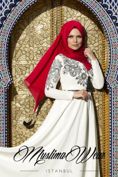 Muslima Wear 2015 Collection Maxi Dress in white cream color with black silk embroidery on chest and sleeves Wide cut, fully lined skirt Slightly high waist Wrinkle-free breathable fabric