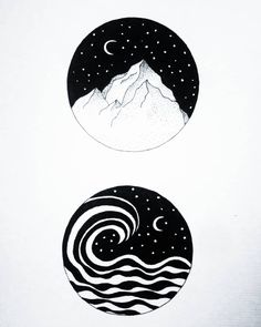 ���⛰️ #drawing#ink#nature#moon#paysage#mountain#moonchild
