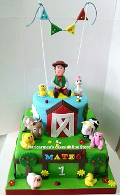 Farm Birthday Cakes, Boys 1st Birthday Party Ideas, Farm Animal Birthday, Monster Birthday Parties, Cowboy Birthday, 1st Boy Birthday, Farm Cake, Noah, Easy Easter Crafts
