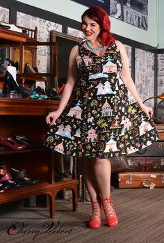 Danielle Dress - Bazaar   Cherry Velvet   Vintage Inspired Dresses made in Canada