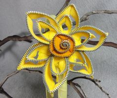Yellow Daffodil Headband - Zipper Flower - Zipper Headband - Upcycled - Recycled…