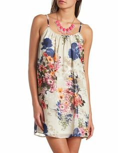 Floral Print Chiffon Shift Dress: Charlotte Russe