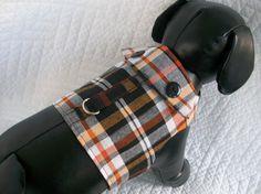 Fall Dog Harness Plaid  Boys Dog Harness Vest Custom Made