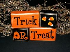 TRICK OR TREAT Halloween Candy Corn Pumpkin -Letter Block Shop - Autumn Fall holiday decor harvest centerpiece by psssstoverhere Halloween Candy Crafts, Halloween Blocks, Halloween Items, Halloween Signs, Halloween Boo, Diy Halloween Decorations, Halloween Treats, Holiday Crafts, Holiday Ideas