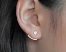 Simple and Beautiful Curved Line Ear Jackets.  Crystal Pave,  Dainty and Stylish, Gifts for Her