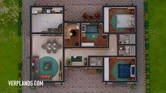Descargar Plano de casa de 3 dormitorios y 2 baños ☑️ ¡GRATIS!