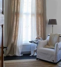 If you use drop cloths for curtains it would be nice to add a sheer cotton like this Linen Curtains, Curtains With Blinds, Natural Curtains, Store Venitien, Interior Design Courses, Curtain Designs, Stores, Interior Inspiration, New Homes