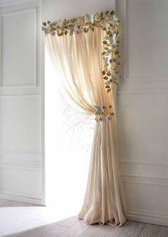 Bay Window Curtains, Drop Cloth Curtains, Home Curtains, Curtains Living, Hanging Curtains, Velvet Curtains, Linen Curtains, Velvet Bedroom, Window Blinds