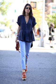 There was nothing complicated about Leandra Medine's cool denim moment.