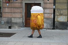 """""""I had to admire the stamina of this guy, walking round dressed as apint of beer"""" - photo by Julie Garton."""