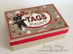 Box of Christmas Tags with Candy Cane Lane Suite - Judy May, Just Judy Designs 3d Christmas, Stampin Up Christmas, Christmas Gift Tags, Christmas Projects, Handmade Christmas, Holiday Cards, Christmas Ideas, Stampin Up Cookie Cutter, Card Tags