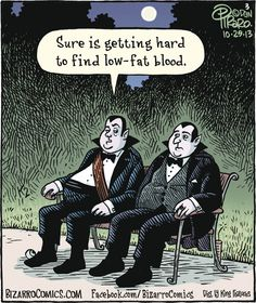 Facebook Bizarro Comics,  Vampires on park bench Sure is getting hard to find low-fat blood .  www bizarro Comics com