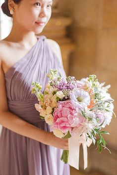 gorgeous bridesmaids bouquet in pastel shades