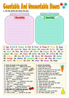 """FREE """"Countable and Uncountable"""" Nouns..... Follow for Free """"too-neat-not-to-keep"""" teaching tools & other fun stuff :)"""