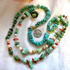 Natural Carico Lake Green & Blue Turquoise 14K Gold Angel Skin Coral Necklace #DouableStrand