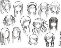 Anime girl hair sketches
