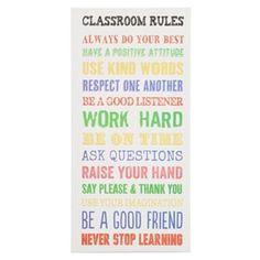 Classroom Rules Canvas Wall Plaque | Kirkland's