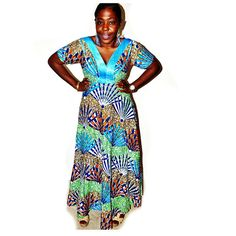 African Wax Print Dress Blue African Print Maxi by ZabbaDesigns,  ~African Prints, African women dresses, African fashion styles, African clothing, Nigerian style, Ghanaian fashion ~DK