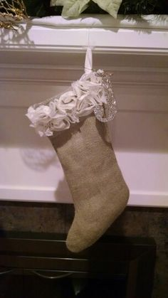 Burlap and rose lace
