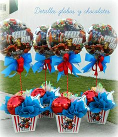 """Detalles globos y chocolates"" - Visit to grab an amazing super hero shirt now on sale! Avengers Birthday, Superhero Birthday Party, 3rd Birthday Parties, 4th Birthday, Birthday Ideas, Kids Party Decorations, Party Centerpieces, Party Ideas, Iron Man Party"