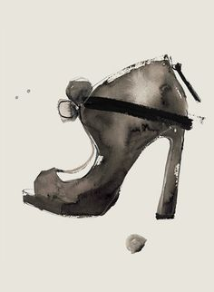 Watercolour shoe drawing - fashion illustration