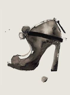 Watercolour shoe drawing - fashion illustration
