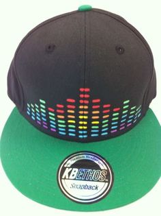 Black & Green Mosaic Pyramid Snap Back Hat, Disco Biscuits, Pretty Lights, Bass