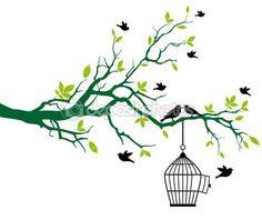 Árvore com gaiola de pássaros e aves a beijar — Ilustração de Stock #3214070