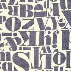 Michael Miller, Patty Young, Just My Type, Letterpress Gray Fabric - Half Yard