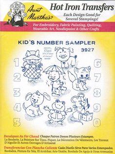 Kids Number Sampler Aunt Martha's Embroidery Transfer Designs