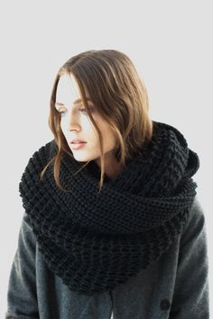 NEW Wool Scarf / Infinity Scarf / Chunky Knit Scarf / Shawl / Loop Scarf / Stocking Stuffer / Perfect Gift / Hat / marcellamoda - Chunky Infinity Scarves, Chunky Knit Scarves, Green Photo, Asymmetrical Design, Loop Scarf, Knitted Fabric, Get The Look, Stocking Stuffers, Trending Outfits