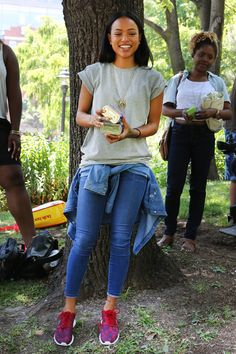 Karrueche Tran getting back to nature in some casj double denim, Nike kicks and an ASOS tee.