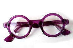 Hi Tek round purple plastic frame sunglasses clear lens HT-005b
